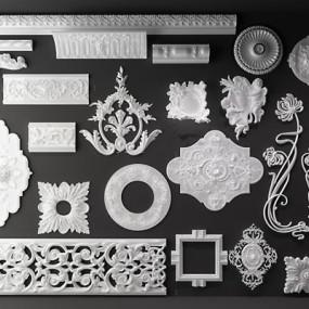 欧式罗马柱雕花组合3D模型【ID:828135656】