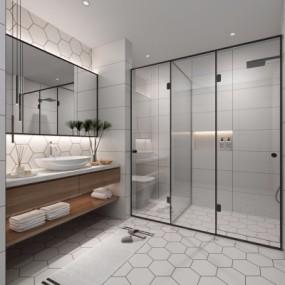 现代浴室卫生间3D模型【ID:127767601】