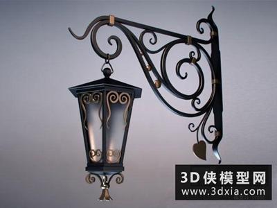 欧式田园铁艺壁燈国外3D模型【ID:829605850】