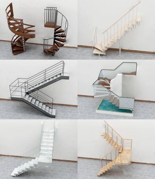 現代轉角樓梯3D模型【ID:346262536】