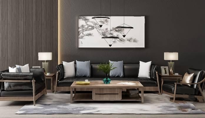 新中式沙发茶几组合3D模型【ID:624889040】
