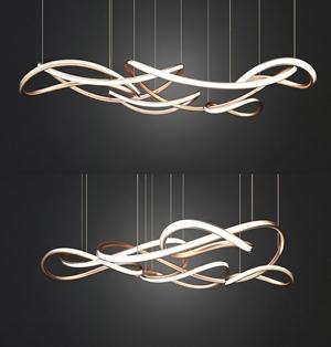 現代金屬吊燈3D模型【ID:734830837】