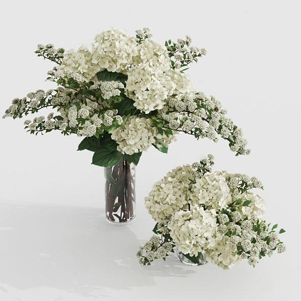現代花瓶花卉3D模型【ID:247040885】