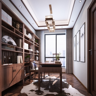 新中式书房3D模型【ID:128407735】