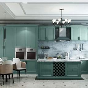 歐式廚房餐廳3d模型【ID:546657350】