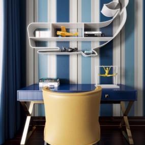 现代书桌椅装饰柜书籍玩具组合3D模型【ID:127767948】