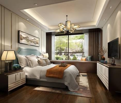 中式卧室3D模型【ID:419622377】