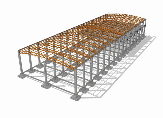 鋼結構框架工業廠房SU模型【ID:846369053】