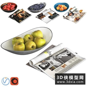 水果书本装饰品组合国外3D模型【ID:929327502】