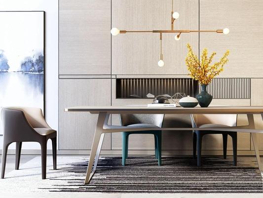 現代奢華餐桌椅組合3D模型【ID:328243698】