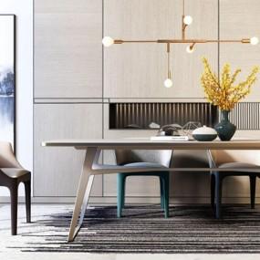 现代奢华餐桌椅组合3D模型【ID:328243698】