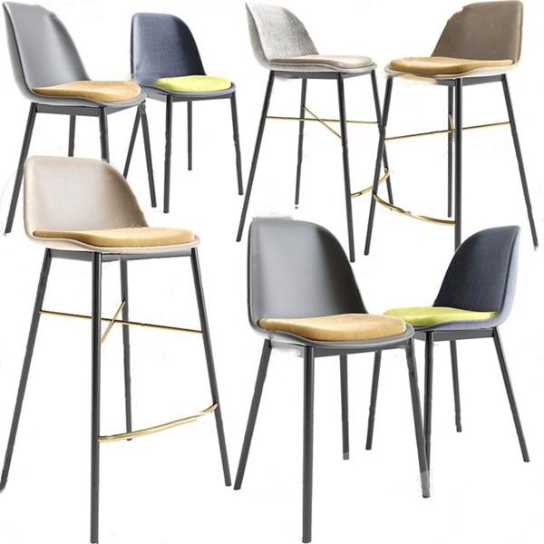 現代布藝吧椅3D模型【ID:747856239】