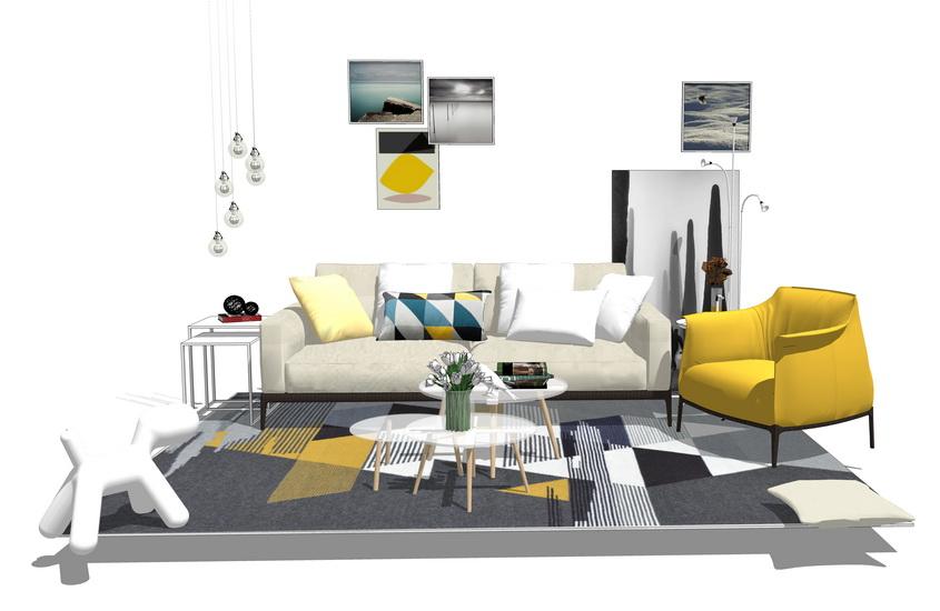 现代客厅沙发茶几组合SU模型【ID:436921126】