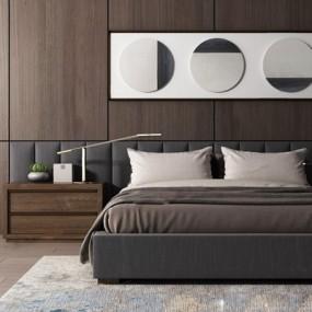 新中式床具3D模型【ID:728084069】