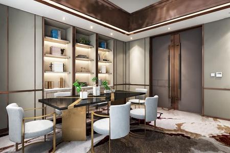 曼图设计-绿地海悦售楼中心现代洽谈区3D模型【ID:420798545】