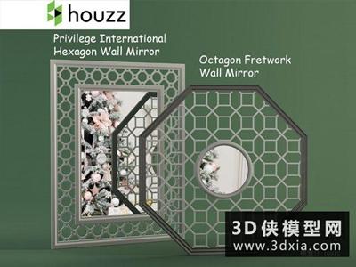 中式雕花隔斷國外3D模型【ID:929643547】