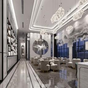 新中式售楼处接待大厅 3D模型【ID:941631638】