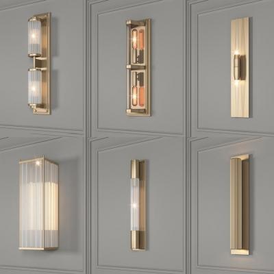 歐式金屬壁燈組合3D模型【ID:528453912】