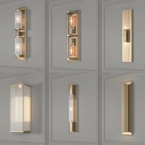 欧式金属壁灯组合3D模型【ID:528453912】