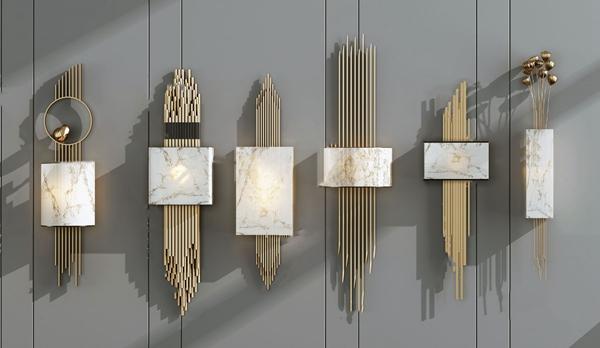 现代金属艺术壁灯3D模型【ID:747180915】