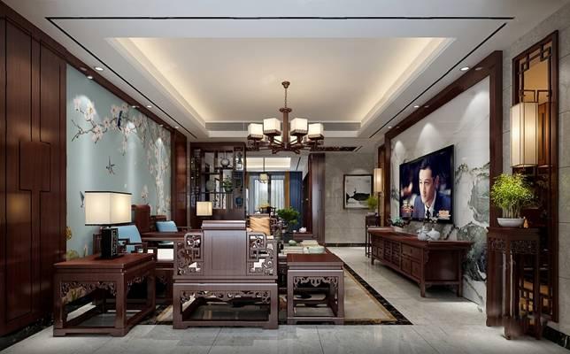 新中式客厅3D模型【ID:124884287】