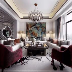 新中式客厅3d模型【ID:128414256】