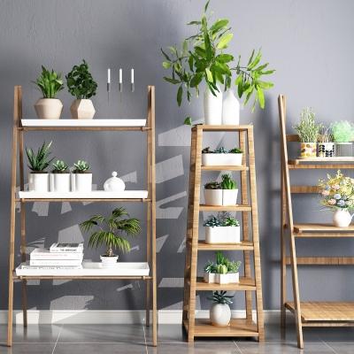 現代實木裝飾架綠植擺件組合3D模型【ID:927838270】
