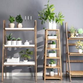 现代实木装饰架绿植摆件组合3D模型【ID:927838270】