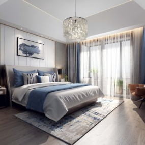 现代卧室主人房3D模型【ID:128399371】
