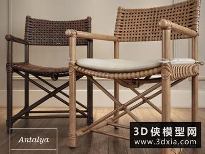 现代藤椅国外3D模型【ID:729458878】