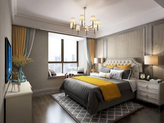 现代卧室3D模型【ID:124896351】