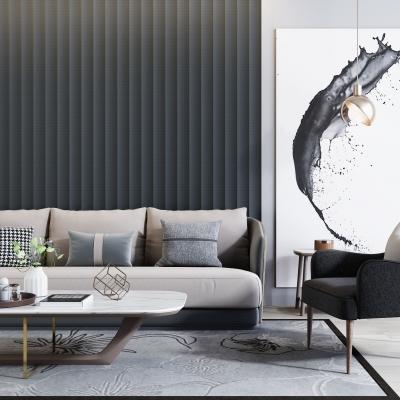 现代高级灰沙发组合装饰画3D模型【ID:127777076】