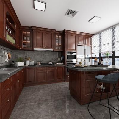 美式廚房櫥柜3D模型【ID:727813305】