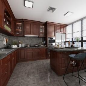 美式厨房橱柜3D模型【ID:727813305】