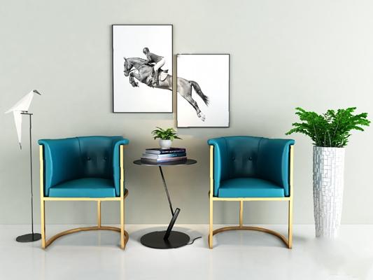 现代休闲沙发组合3D模型【ID:126234269】