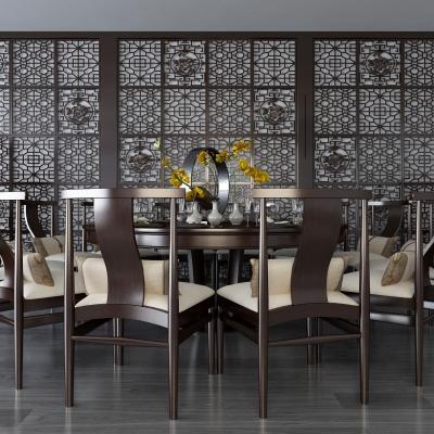新中式實木圓形12人臺餐桌椅3D模型【ID:328438490】