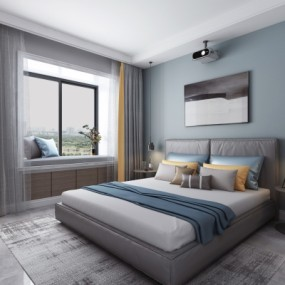 现代卧室双人床3D模型【ID:128413397】
