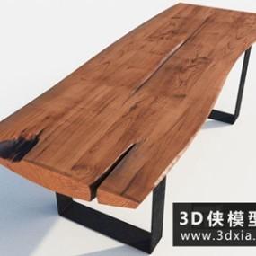 现代原木餐桌国外3D模型【ID:729522744】