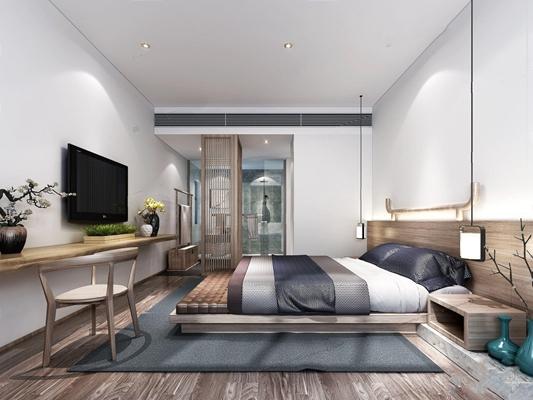 新中式单人间客房3D模型【ID:427962632】