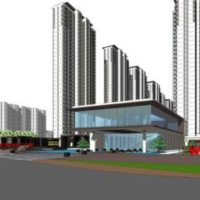 长投公园大道新亚洲风格高层住宅+售楼处SU模型【ID:245467746】
