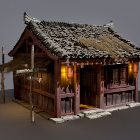 中式古建破旧民居茅草房3D模型【ID:527801646】