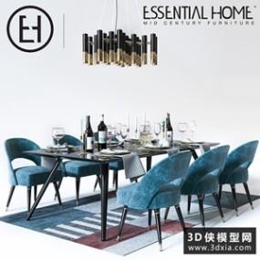 现代餐桌椅国外3D模型【ID:729306770】