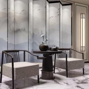 新中式椅子3D模型【ID:227890498】