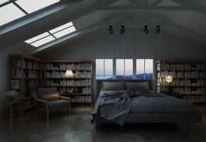 北欧阁楼卧室书房3D模型【ID:535974216】