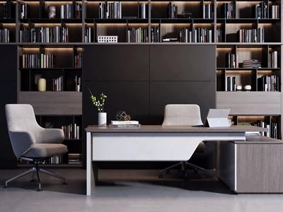 現代辦公桌椅書柜組合3D模型【ID:328253609】