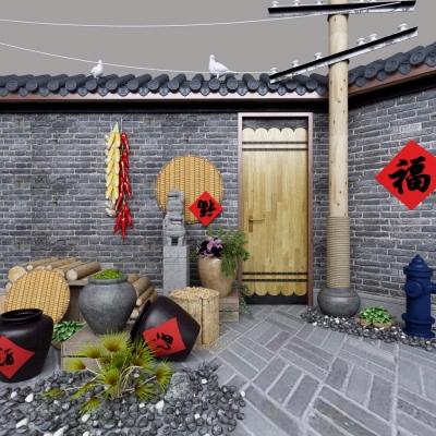 自然風酒壇陶罐園藝小品組合3D模型【ID:527804646】