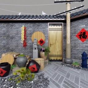 自然风酒坛陶罐园艺小品组合3D模型【ID:527804646】