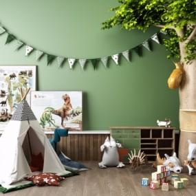现代儿童玩具假树帐篷组合3D模型【ID:527803791】