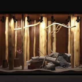 现代店铺橱窗树干树枝组合3D模型【ID:527802420】