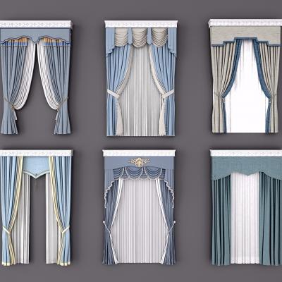 歐式布藝窗簾3D模型【ID:328441834】